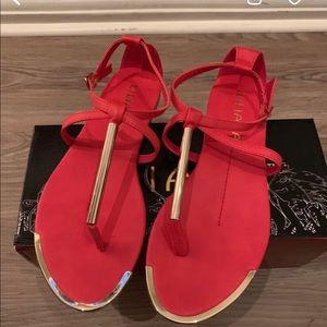 Liliana red sandals all man made materials